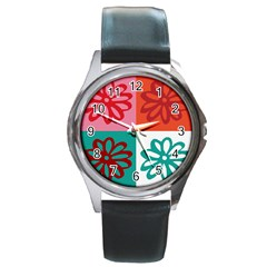 Flower Round Leather Watch (Silver Rim)