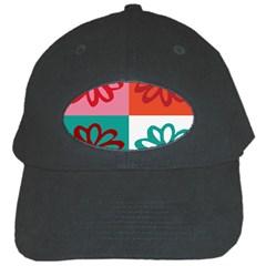 Flower Black Baseball Cap