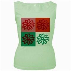 Flower Women s Tank Top (Green)
