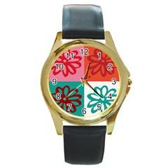 Flower Round Leather Watch (gold Rim)