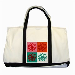 Flower Two Toned Tote Bag