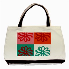 Flower Twin-sided Black Tote Bag