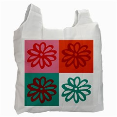 Flower White Reusable Bag (Two Sides)