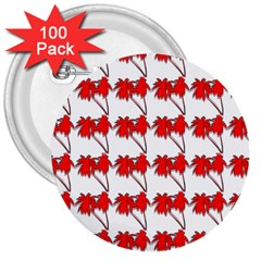 Palm Tree Pattern Vivd 3d Look 3  Button (100 pack)