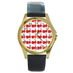 Palm Tree Pattern Vivd 3d Look Round Leather Watch (Gold Rim)