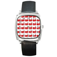 Palm Tree Pattern Vivd 3d Look Square Leather Watch