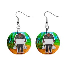 Yowie H,text In Aussie Outback, Mini Button Earrings