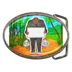 Yowie H,text In Aussie Outback, Belt Buckle (Oval)