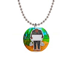 Yowie H,text In Aussie Outback, Button Necklace