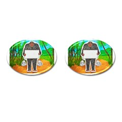Yowie H,text In Aussie Outback, Cufflinks (Oval)