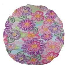 Spring Watercolor Flowers 18  Premium Round Cushion