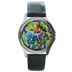 The Neon Garden Round Leather Watch (silver Rim)