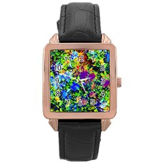 The Neon Garden Rose Gold Leather Watch