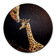 Baby Giraffe And Mom Under The Moon 8  Mouse Pad (round)