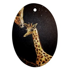 Baby Giraffe And Mom Under The Moon Oval Ornament
