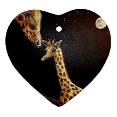 Baby Giraffe And Mom Under The Moon Heart Ornament
