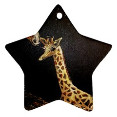 Baby Giraffe And Mom Under The Moon Star Ornament