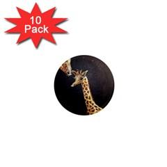 Baby Giraffe And Mom Under The Moon 1  Mini Button Magnet (10 pack)