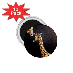 Baby Giraffe And Mom Under The Moon 1.75  Button Magnet (10 pack)