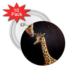 Baby Giraffe And Mom Under The Moon 2.25  Button (10 pack)