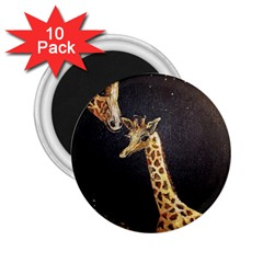 Baby Giraffe And Mom Under The Moon 2.25  Button Magnet (10 pack)