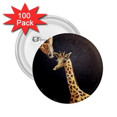 Baby Giraffe And Mom Under The Moon 2.25  Button (100 pack)