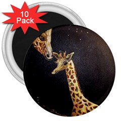 Baby Giraffe And Mom Under The Moon 3  Button Magnet (10 Pack)