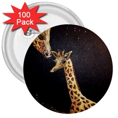 Baby Giraffe And Mom Under The Moon 3  Button (100 Pack)