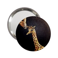 Baby Giraffe And Mom Under The Moon Handbag Mirror (2.25 )