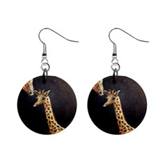 Baby Giraffe And Mom Under The Moon Mini Button Earrings