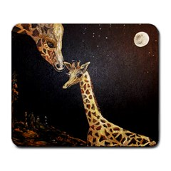 Baby Giraffe And Mom Under The Moon Large Mouse Pad (Rectangle)