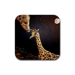 Baby Giraffe And Mom Under The Moon Drink Coasters 4 Pack (square)