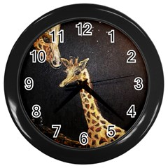 Baby Giraffe And Mom Under The Moon Wall Clock (Black)
