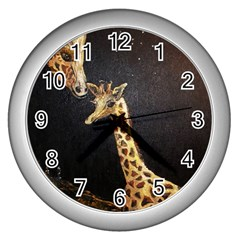Baby Giraffe And Mom Under The Moon Wall Clock (Silver)