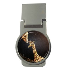 Baby Giraffe And Mom Under The Moon Money Clip (round)