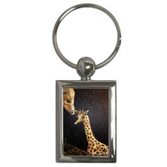 Baby Giraffe And Mom Under The Moon Key Chain (Rectangle)