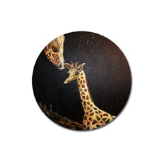 Baby Giraffe And Mom Under The Moon Magnet 3  (round)