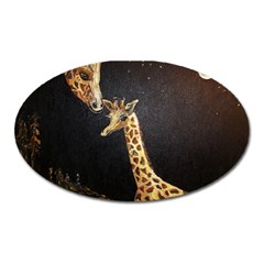 Baby Giraffe And Mom Under The Moon Magnet (Oval)