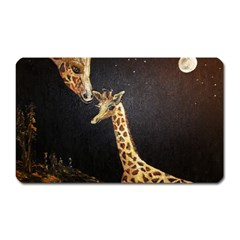 Baby Giraffe And Mom Under The Moon Magnet (rectangular)