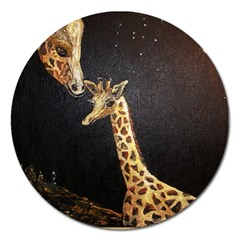 Baby Giraffe And Mom Under The Moon Magnet 5  (round)