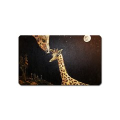 Baby Giraffe And Mom Under The Moon Magnet (Name Card)