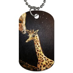 Baby Giraffe And Mom Under The Moon Dog Tag (One Sided)