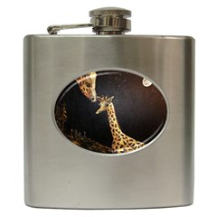 Baby Giraffe And Mom Under The Moon Hip Flask