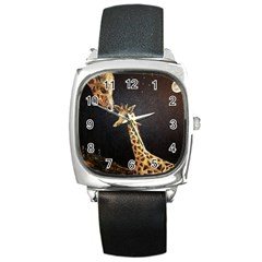 Baby Giraffe And Mom Under The Moon Square Leather Watch