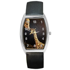 Baby Giraffe And Mom Under The Moon Tonneau Leather Watch