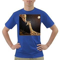 Baby Giraffe And Mom Under The Moon Men s T-shirt (Colored)