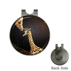 Baby Giraffe And Mom Under The Moon Hat Clip with Golf Ball Marker