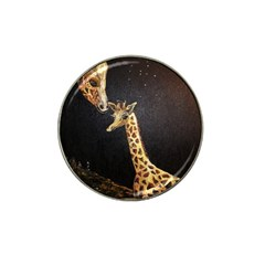 Baby Giraffe And Mom Under The Moon Golf Ball Marker (for Hat Clip)