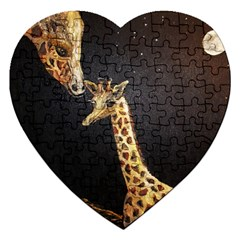 Baby Giraffe And Mom Under The Moon Jigsaw Puzzle (Heart)