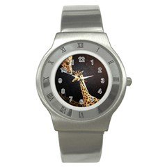 Baby Giraffe And Mom Under The Moon Stainless Steel Watch (slim)
